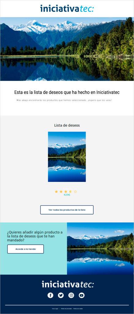 Envío wishlist por email - Iniciativatec
